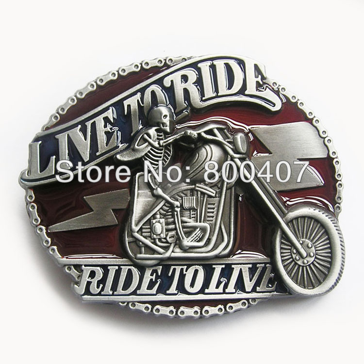 Distribute Vintage Emo Skull Motorcycle Chain Ride Driver Biker Belt Buckle BUCKLE-AT065 Free Shipping(China (Mainland))