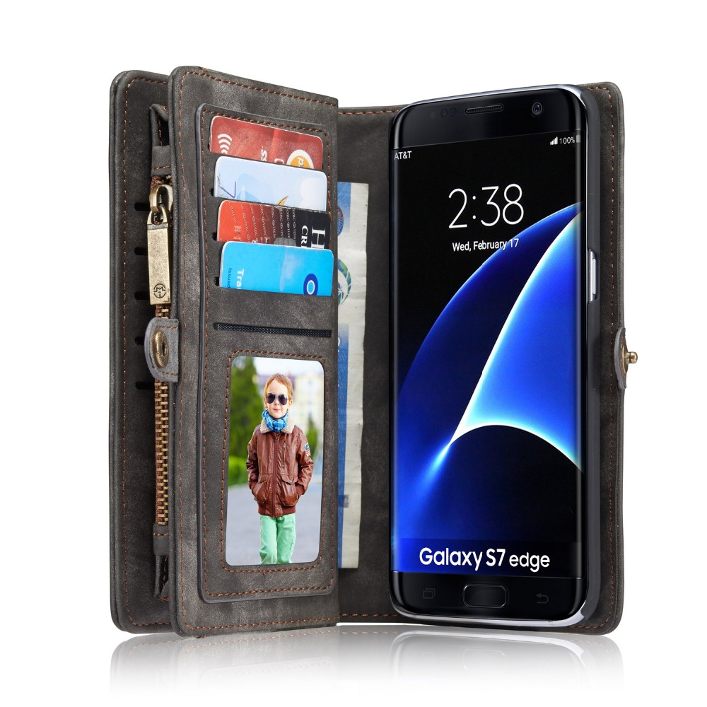 PRO S7 Luxury Flip Genuine Leather Case for Samsung Galaxy S7 edge Case Wallet Phone Bag Cases Cover Leather Case Coque S7 Cover(China (Mainland))