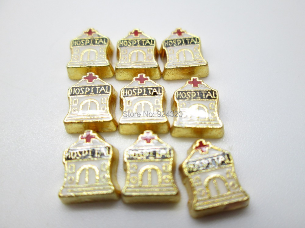 Charm Wholesales 20pcs/lot charm for living glass floating locket, Floating Locket Charm Hospital House(China (Mainland))