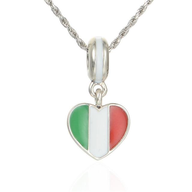 Летний стиль 925-sterling-silver ювелирные изделия италия в форме сердца флаг эмаль бусины DIY ювелирные изделия поиск подходит известный бренд браслеты и ожерелье