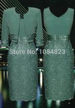 2015 elegante mutter der braut kleider mit jacke ohne Ärmel applikationen satin mantel Mitte- Kalb Mutter der braut hosenanzug(China (Mainland))