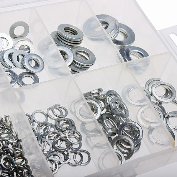 New Arrival 250pcs M5 M6 M8 M10 Zinc Plating Flat and Spring Washers Metal Gaskets(China (Mainland))