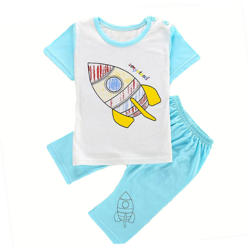 Toddler boys boys board shorts tee shirt set home suit children clothes sport suit kids boys clothing t-shirt summer rocket tops(China (Mainland))