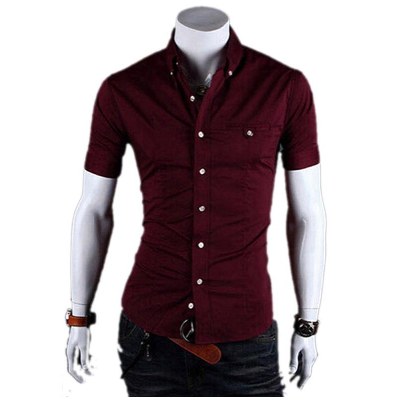 2015 Brand New Summer Style Men Shirt Short Sleeve Dress Shirts Mens Slim Fit Camisas Hombre