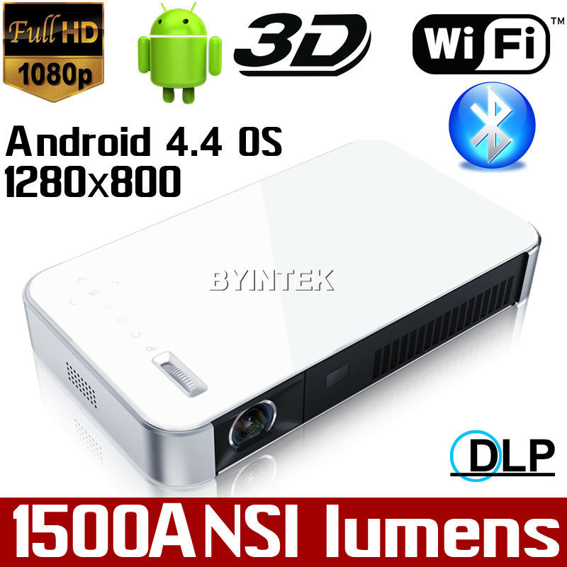 Best Smart Cinema Android 4.4 Wifi Bluetooth DLP LED fuLl HD1080P Portable Pico Video HDMI USB Mini 3D Projector Proyector