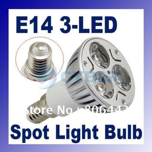 E14 Warm White 3 LED Spot Bulb Light Lamp 3W 85~265V Free Shipping