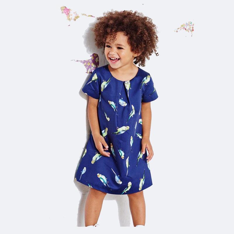 Baby Girl Dress Summer Kids Teenagers short Sleeve Print Full Bird Cotton Dresses Clothes For Girls Children Toddler vestidos(China (Mainland))