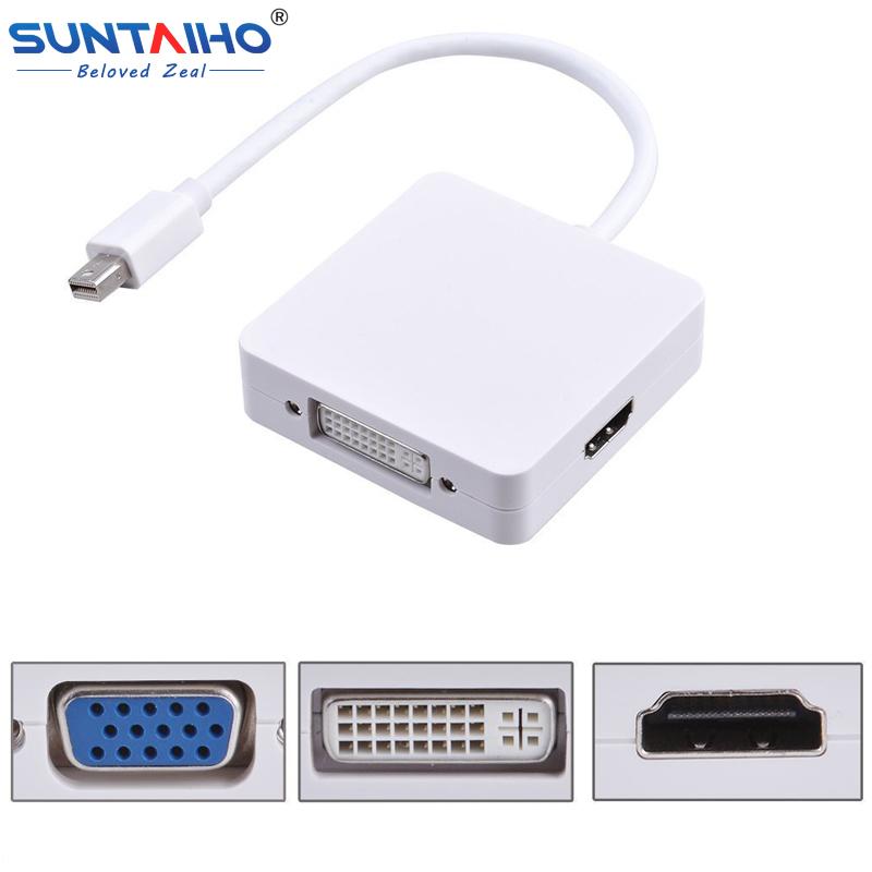 2016 New 3 in 1 Mini DP DisplayPort to HDMI/DVI/VGA Display Port Cable Adapter for Apple MacBook Pro Air mini iMac(China (Mainland))