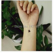 Temporary Tattoo Stickers Temporary Body Hip Waist Arm Art Supermodel Stencil Designs Waterproof Black LONEY Birds