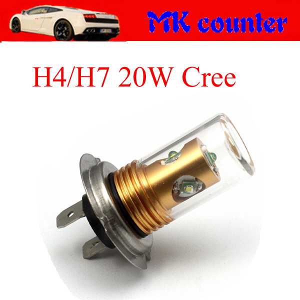 HK post free!!! Super bright H4 H7 Xenon White LED 20W Cree 5W * 4pcs cree chip 650Lumen Fog light Car Head light DC12V<br><br>Aliexpress