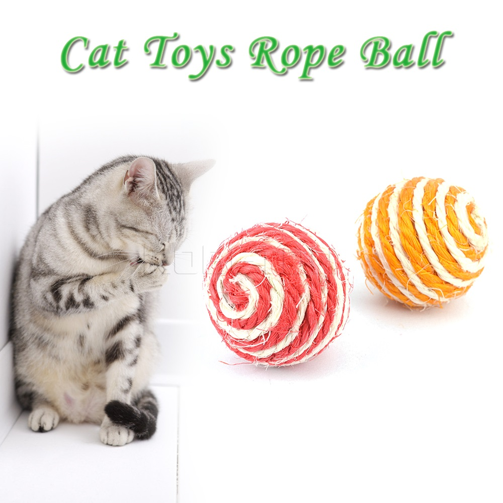 5PCS 2016 New Arrival Toys Rope Weave Ball for Pet Dog Cat Kitten Teaser Playing/Chase/Scratch Catch /Chewing New Funny Colorful(China (Mainland))
