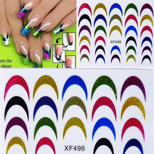1 sheet New Styles Nail Art Decals French Manicure Water Transfer Stickers 3D Design Nail Art Decorations Nail Tools #XF496(China (Mainland))