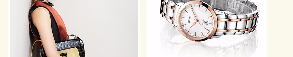 BUREI Women Watch New Top Brand White Lens Fashion Steel Band Female Clock Day Display Waterproof Quartz Wristwatches Hot Sale