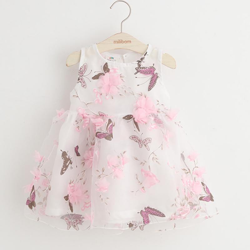 Girls Dress Butterfly Flower Girls Summer Dress Sleeveless O neck Summer Princess Dress Girl Fashion Baby