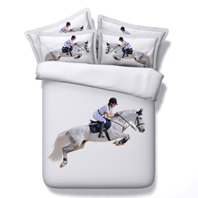 JF-115 Majestic White Horse and Rider Equestrian Theme 3d bedding set 4pcs horse print duvet cover(China (Mainland))
