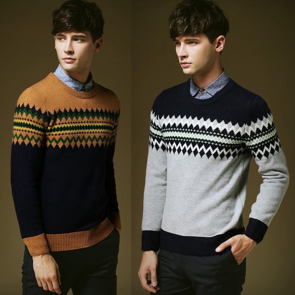 Мужчины в одежда зима с круглым вырезом свитер коммерция ткань в полоску