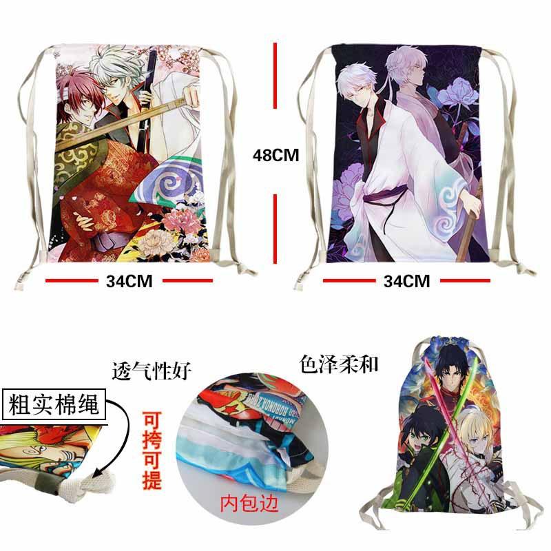 Cartoon great gift lovely backpack Manga Gintama Sakata Gintoki nylon colorful Bunch of pocket Eco-Friendly fashion storage bag(China (Mainland))