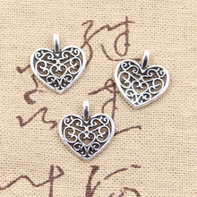 99Cents 12pcs Charms hollow lovely heart 16*14mm Antique Making pendant fit,Vintage Tibetan Silver,DIY bracelet necklace(China (Mainland))