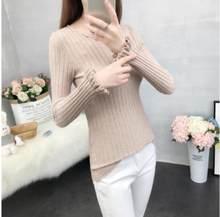 2019 зимний свитер женский новый свитер женская голова короткий абзац тонкий корейский вариант тонкий круглый вырез длинный рукав lotu(China)
