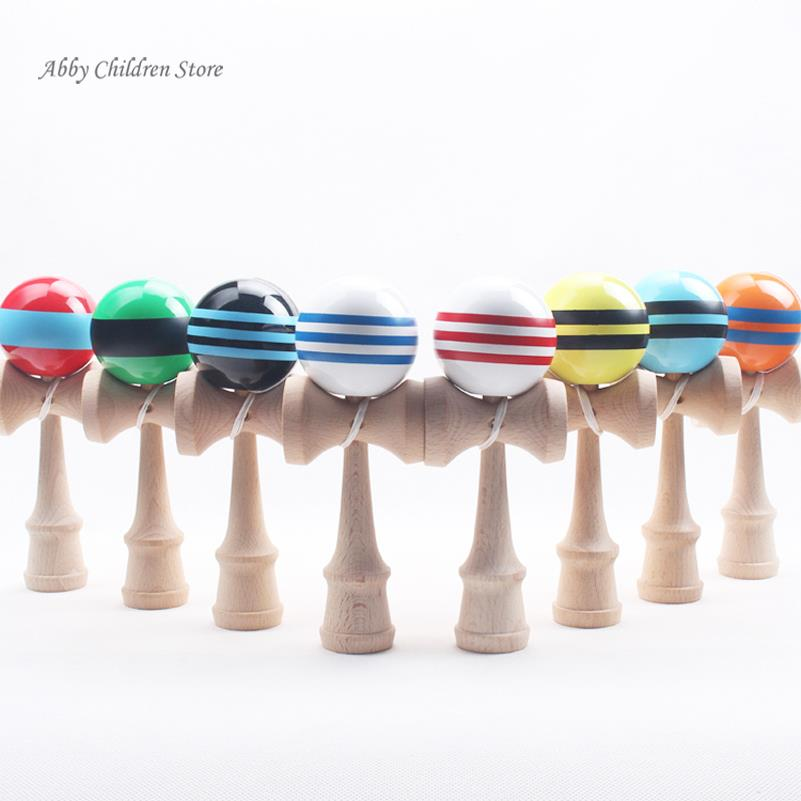 Striped Kendama Colorful Painted Traditional Wooden Toy Ball Skillful Game Juggling Ball Gift for Children Adult(China (Mainland))