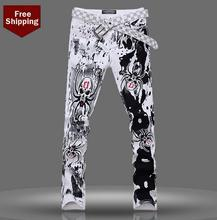 Autumn 2016 fashion spider skeleton england famous brand printed jeans men pant denim trousers male straight personalized