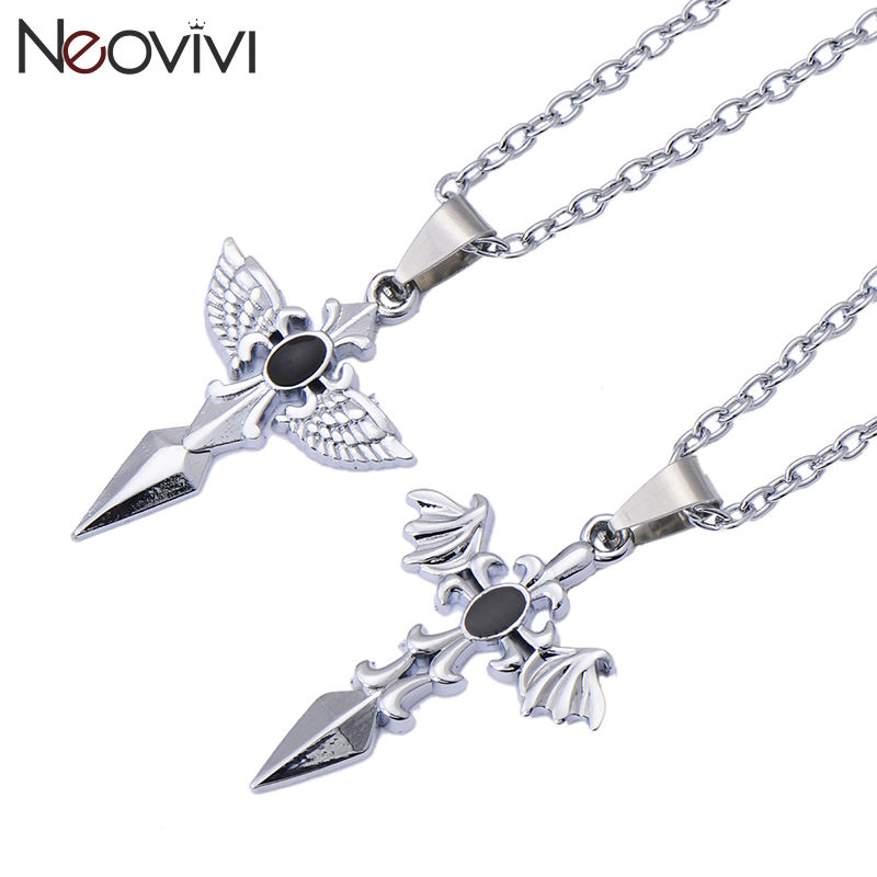 Classic Black Silver Cross Couple Necklace Romantic Angel Wings Shape Stainless Steel Necklaces Lovers' Gift High-Grade(China (Mainland))