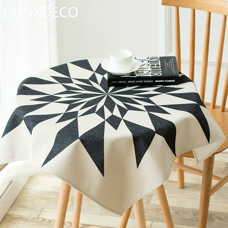 DUNXDECO 1PC 85x85CM Modern Black Geometric Hearts and Arrows Print Table Cloth Party Textile Table Cover Home Decor Photo Prop(China (Mainland))