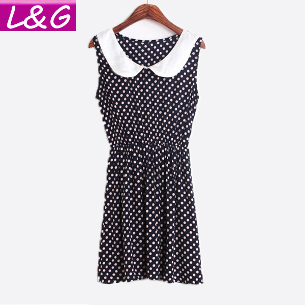 New 2015 Fashion Women Casual Dress Hot Selling Doll Collar One Piece Dress High Street Cat/Dot/Heart/Bow Print Dresses 10016(China (Mainland))