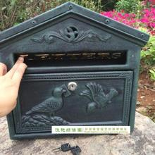 Cast Iron Mailbox Postbox Mail Box Dark Green Wall Mount Metal Post Letters Box Garden Yard Patio Lawn Outdoor Decor(China (Mainland))