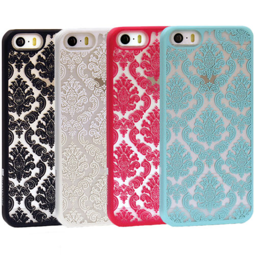 Damask Vintage Pattern Rubber Protector Hard Case Cover For Apple iPhone 5S 5C(China (Mainland))