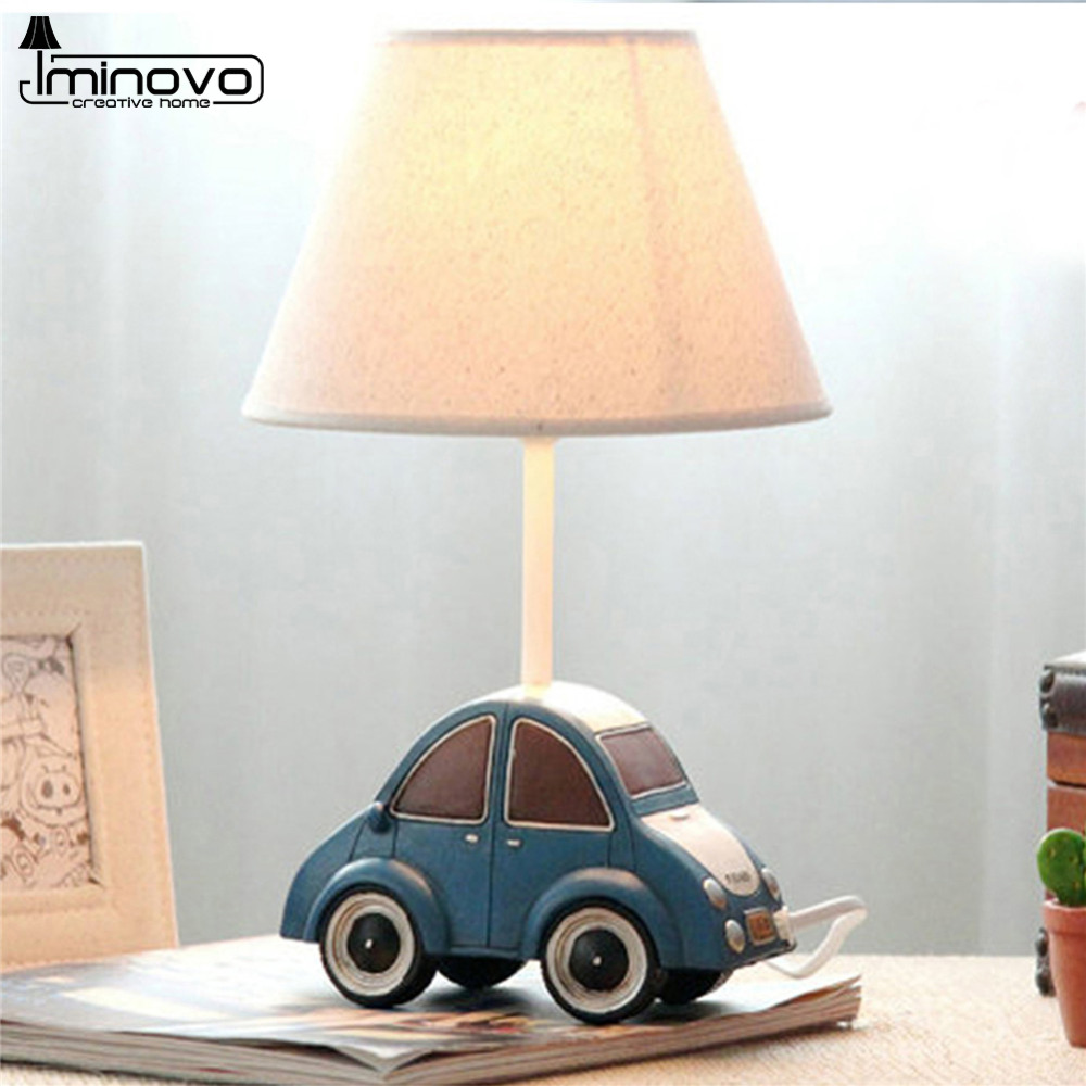 IMINOVO Table Lamp E14 Bulbs Dimmable Bedside Lamp Cute Blue Car Lighting Desk Lamps For Living Room Home Decoration(China (Mainland))