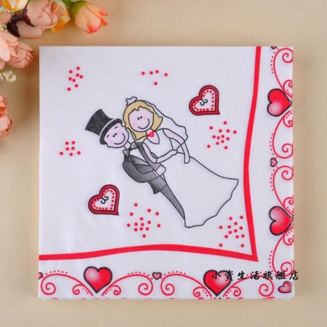 2015 Wedding 33*33cm 100% Virgin Wood Pulp Cute and sweet Wedding Paper Napkins Serviettes, Wedding Decorations Napkins(China (Mainland))