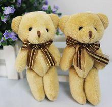1pcs Cute Soft Plush Stuffed Mini Brown Ribbon Teddy Bear Toys Doll for Bouquet(China (Mainland))