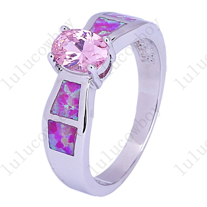 Size 6/7/8/9 Hot Pink Opal Stone 925 Silver Filled Women Wedding Band Fashion Pink Sapphire CZ Engagement Rings RS0008(China (Mainland))