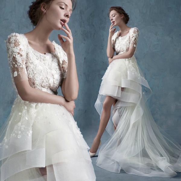 Hk1930f 2015 New Organza Hi Lo Wedding Dresses With Sweep