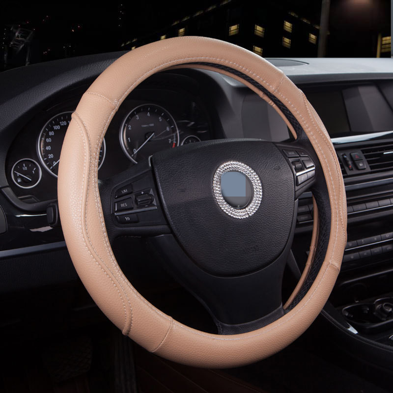 hot sale three colors black,beige,brown ,Automobile steering wheel set four seasons 38cm general leather steering wheel cover(China (Mainland))