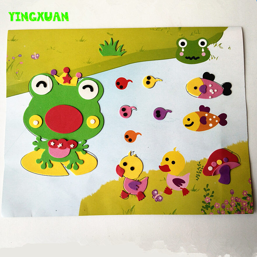 Clearance Sale 4 pieces Large Size Cartoon Animal 3D EVA Sticker Puzzle Chilren's Educational development handmade(China (Mainland))