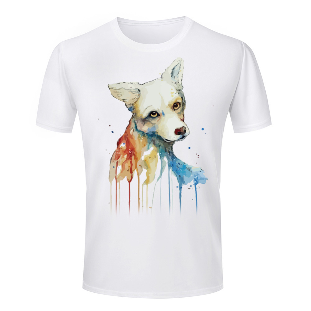 Hot fashion style men 3d dog t shirt casual short sleeve for Dog t shirt for after surgery