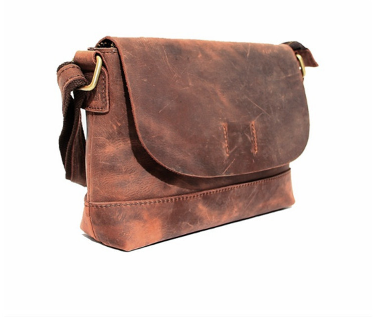 "Design in Italy Men luxury brand Men Crazy Horse Leather Shoulder Bag Top layer Leather DIY Men""s Genuine Leather Message bag(China (Mainland))"