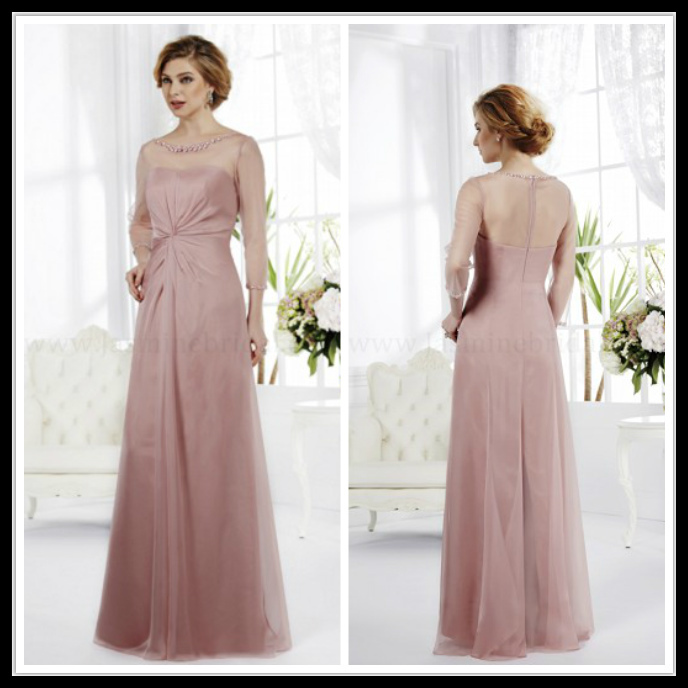 Mother of the bride dresses plus size scoop long sleeve a line