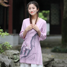 New Arrival Summer Chinese Style Cotton Linen Women Tang Suit Tops Blouse Traditional Elegant Slim Shirt M L XL XXL XXXL T54