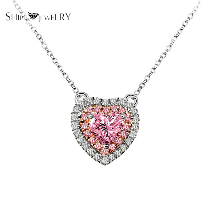 Handmade Jewelry!SHIPEI 2016 Pink Heart Pendant Necklace in Plated Platinum with AAA Imitation Diamonds,Carat Total Weight 1.88(China (Mainland))