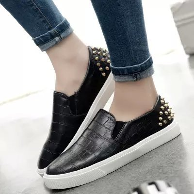Fashion Women Casual PU Leather Snakeskin Loafers Flats Heel rivets Female Slip-on Round Toe Comfort Anti-skid Shoes - Christine Store store