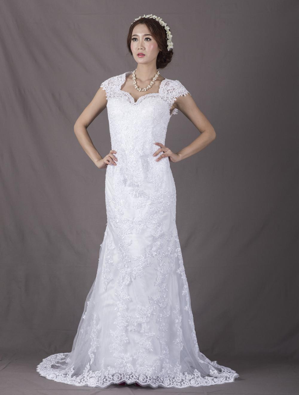 High quality promotion elegant women wedding gowns court for Slim white wedding dresses