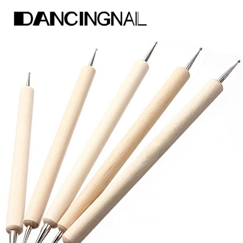 Free Shipping 5PCS 2 Way Nail Art Tip Dotting Pen Wood Tools Set Manicure Painting Kit Design(China (Mainland))