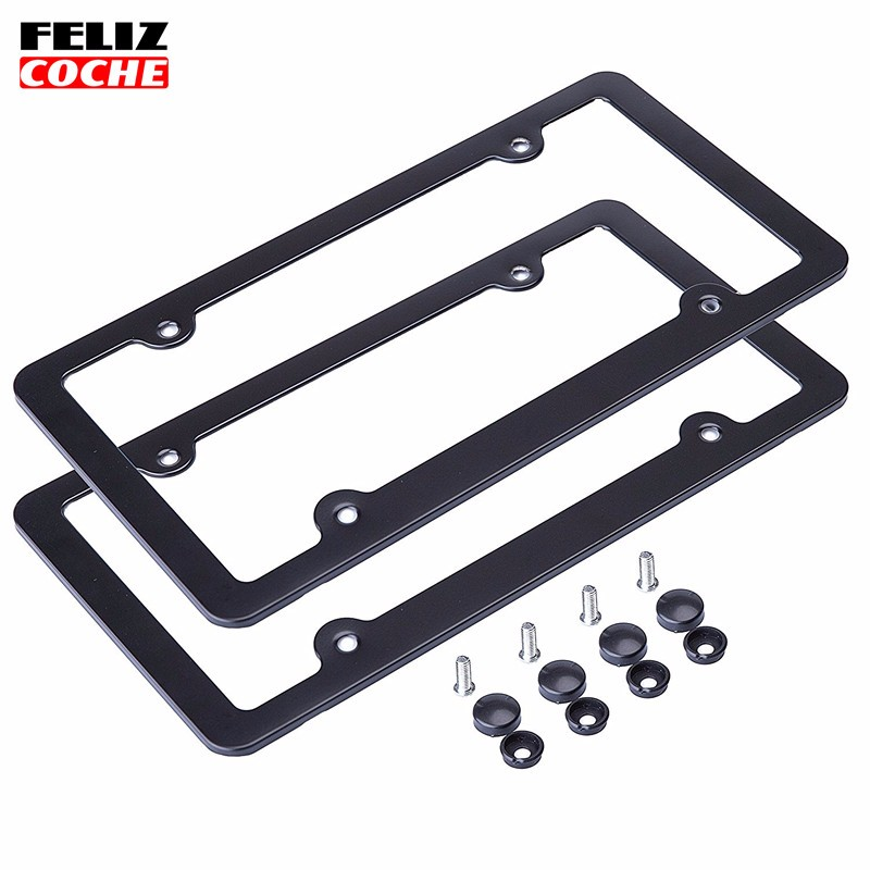 2Pcs/Lot US Standard 4 holes Car License Plate Frame Aluminum Alloy with Screw Caps Car styling for America Canada Mexico A2127(China (Mainland))