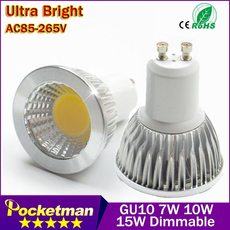 Super Bright GU10 Bulbs Light Dimmable Led Warm/White 85-265V 9W 12W 15W LED GU10 COB LED lamp light GU 10 led Spotlight(China (Mainland))