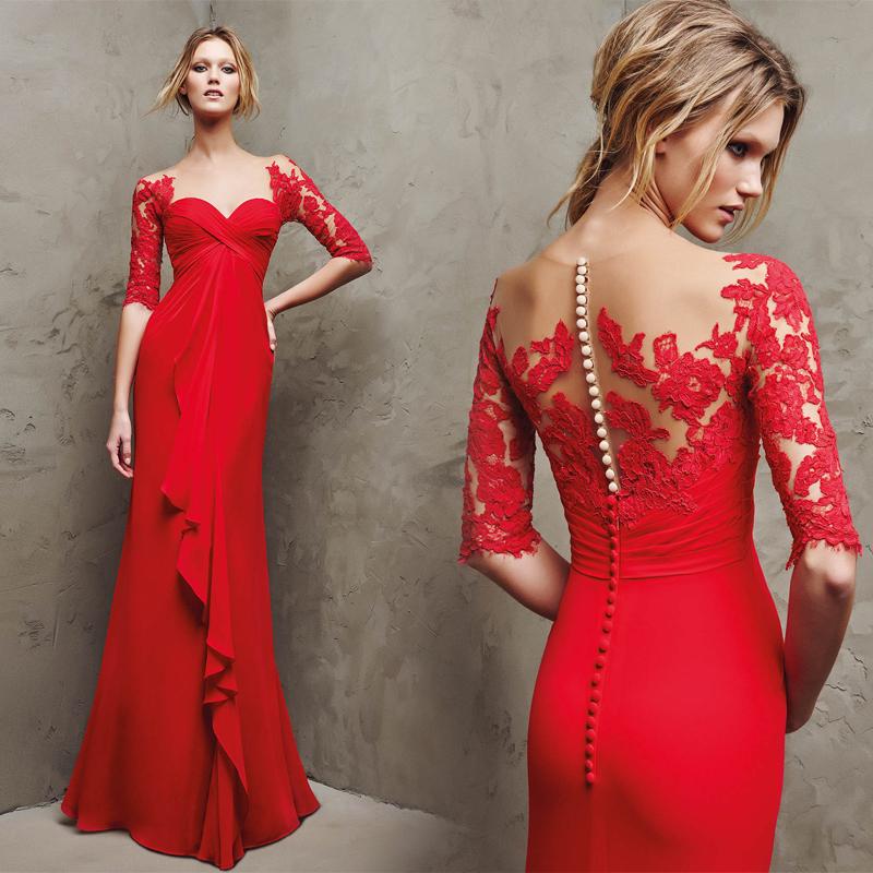 Aliexpress.com Comprar Nueva llegada de moda 2016 vestido de noche rojo de la sirena del Applique con botones medias mangas vestidos formales de apliques
