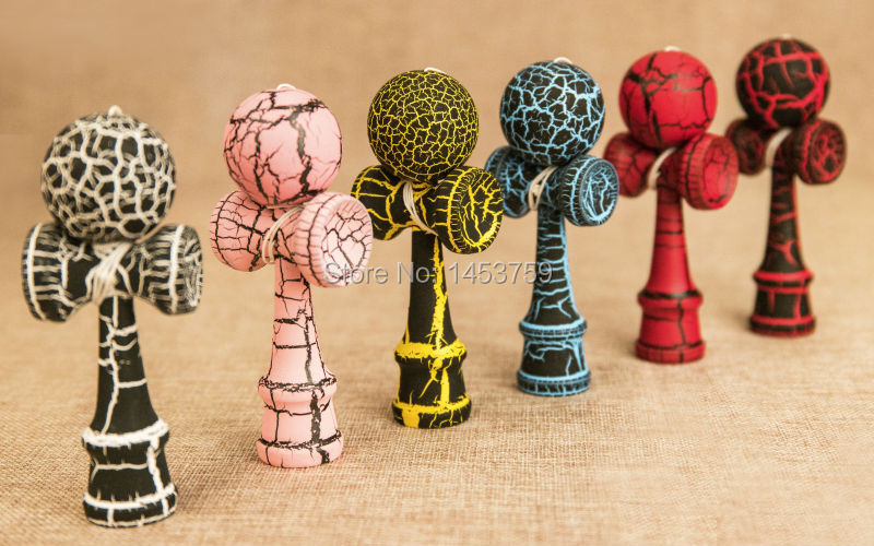 9CM height full color crack wooden kendama ball sport game painting color hot high quality mini kendama wood game ball kids(China (Mainland))