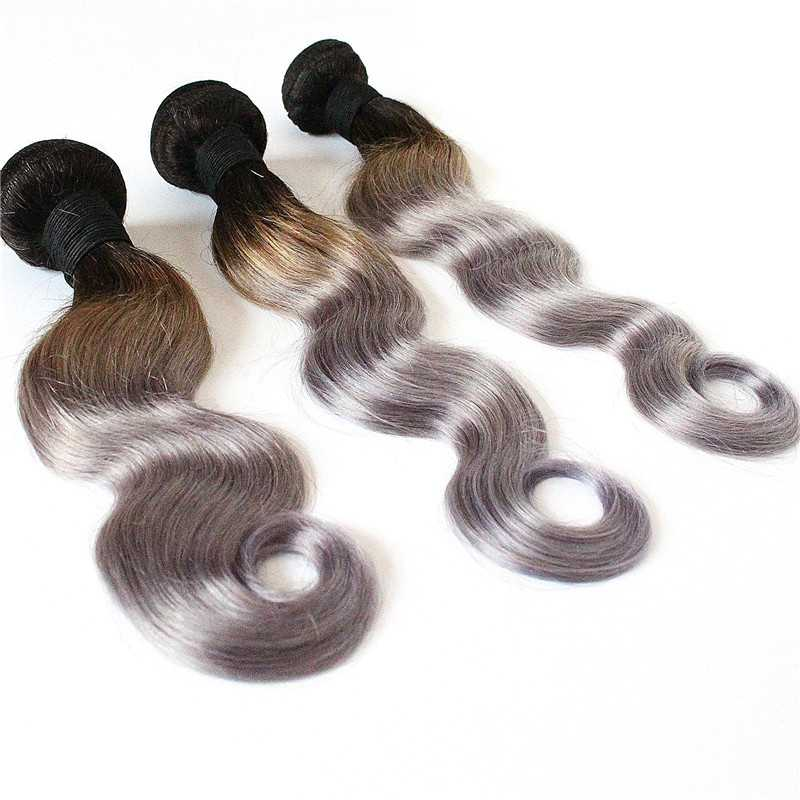 Dark root colored two tone Ombre Sliver Brazilian Hair Extensions 100g/bundle  3pcs Ombre Silver Hair Weaves Ombre Hair Weaves<br><br>Aliexpress